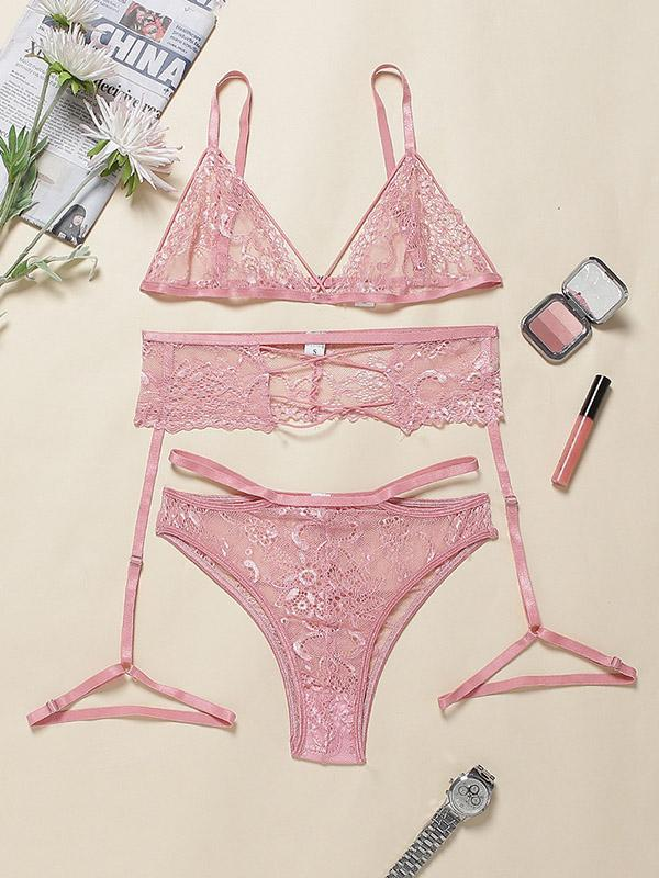 Sexy Lace Bandage Three-Piece Lingerie Set