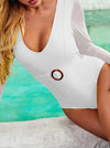 Solid Color Long Sleeve Split-Joint Belted One-Piece Wetsuit