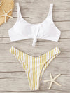 White Top With Striped Panty Bikini Set