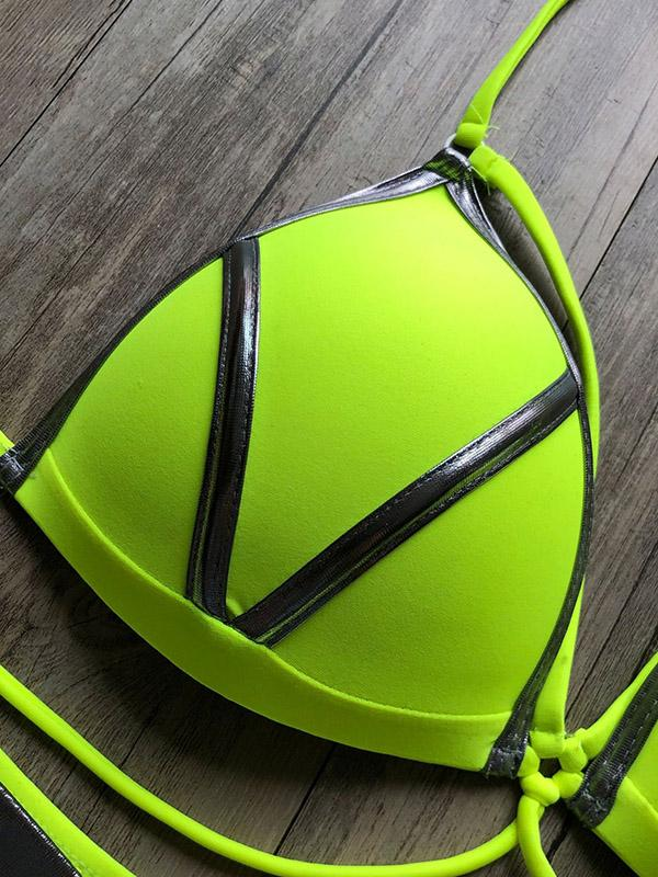 Fluorescent Split-Joint Bandage Split Bikini Swimsuit