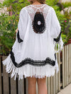 Bat Sleeves Crochetgo Split-Joint Tasseled Cover-Ups