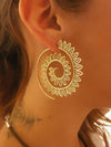 Vintage Geometric Openwork Flower Earrings