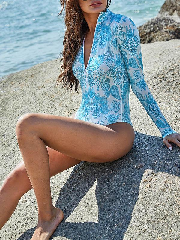 Floral-Print Long-Sleeved Zipper One-Piece Wetsuit