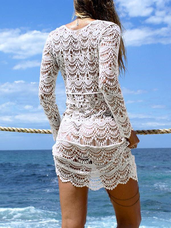 Hollow Lace Deep V-Neck Cover-Ups Tops Mini Dress