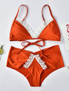 Triangles Lace Bandage Bikini Swimsuit