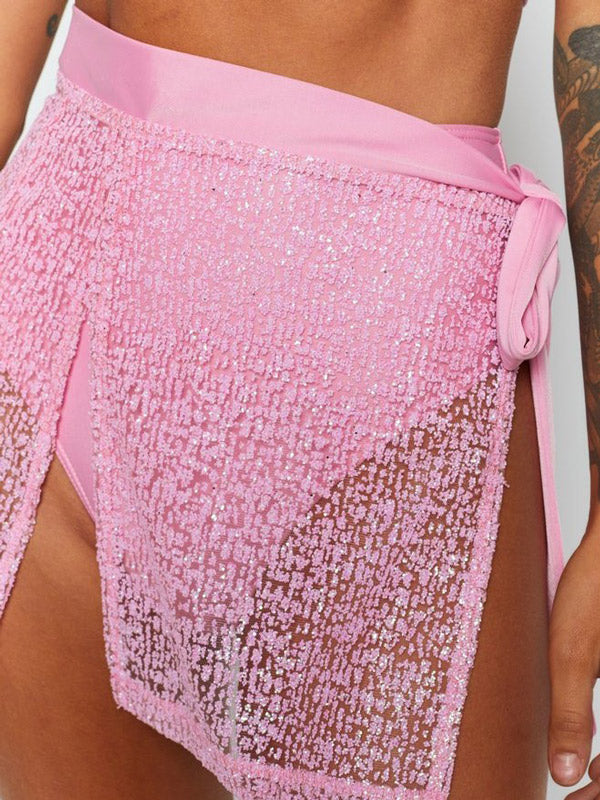 See-Through Split-Joint Underwired Short Skirt Split Tankini Swimsuit