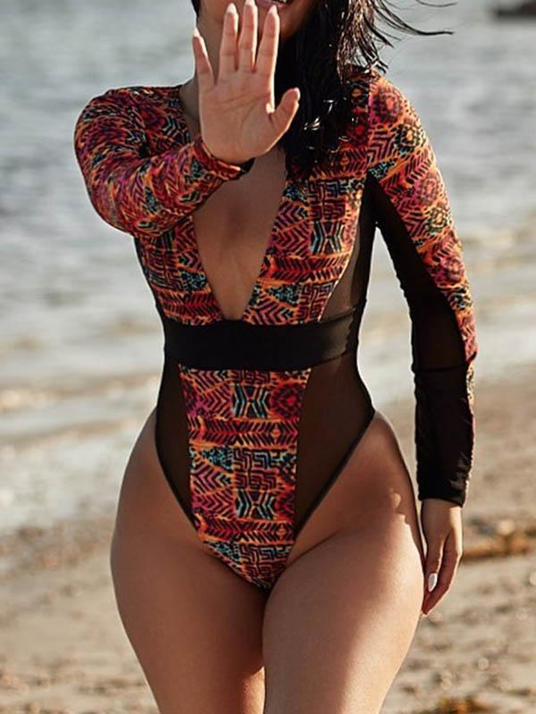 Ethnic Printed Split-Joint See-Through V-Neck One-Piece Wetsuit