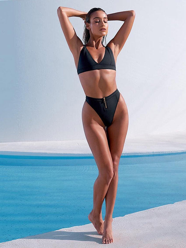 Solid Color Triangles Split Bikini Swimsuit