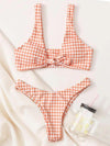Plaid Printed Knotted Split Bikini Swimsuit