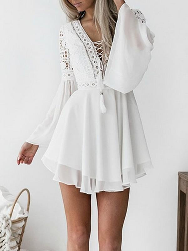 Chiffon Lace Split-Joint Hollow Bandage Flared Sleeves Mini Dress