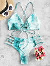 Tie-Dyed Bandage Backless Split Bikini Swimsuit