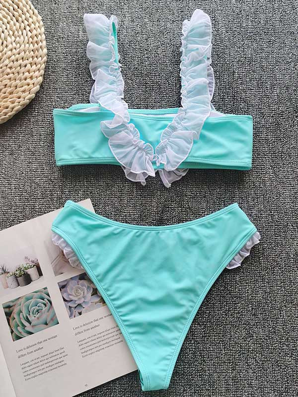 Ruffled Embellished Bandeau Split Bikini Swimsuit