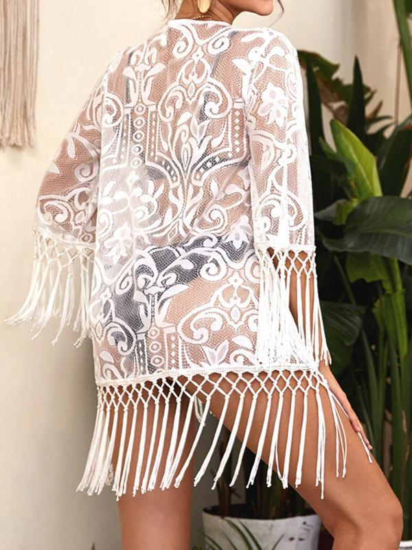 Lace Tasseled Split-Joint 3/4 Sleeve Cover-Ups Tops