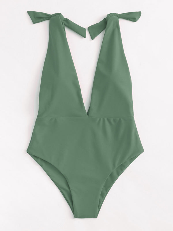 Solid Color Deep V-Neck Knotted  One-Piece Swimwear