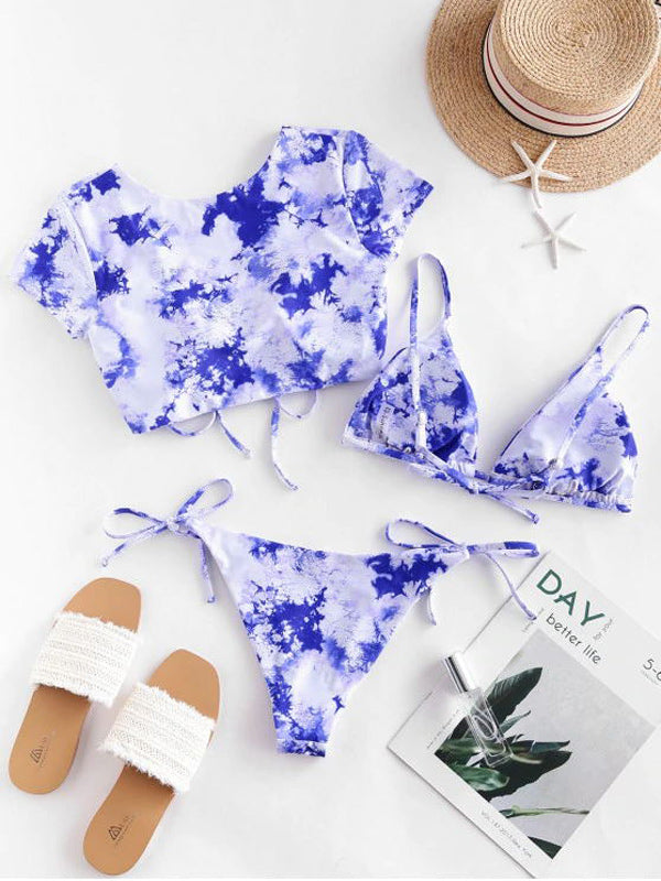 Tie-Dyed Short Sleeve & Triangle Three-Piece Split Bikini Swimsuit