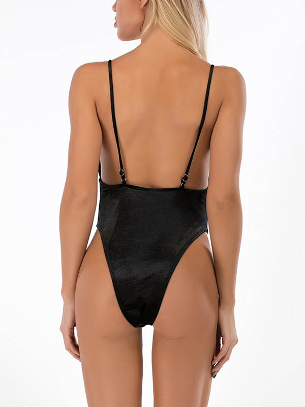Deep V-Neck Spaghetti-Neck One-Piece Swimwear
