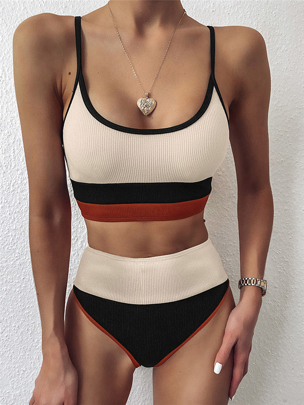 Solid Color Color-Block Spaghetti-Neck Split Bikini Swimsuit