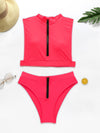 Turtlenecks Zippers Split Bikini Swimsuit