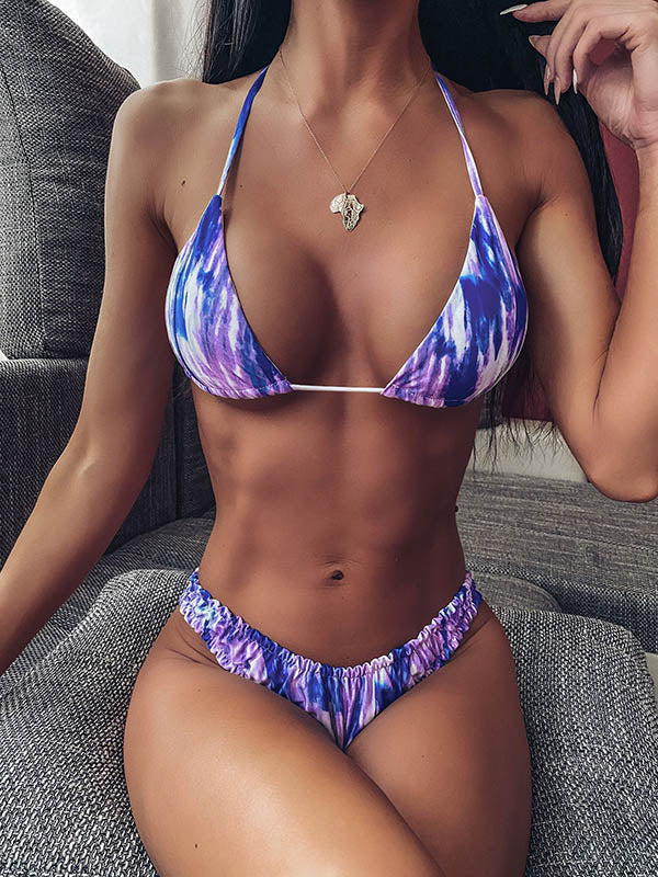 Sexy Spaghetti-Neck Ruffled Tie-Dye Split Type Bikini Swimsuit