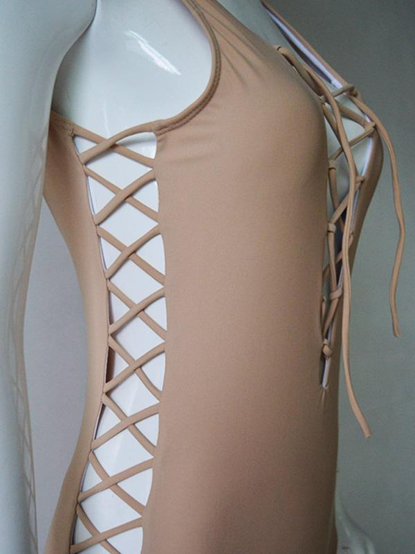 Solid Color Bandage Split-Joint Hollow One-Piece Swimwear