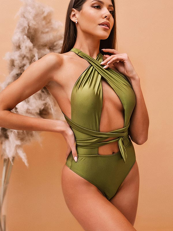 Solid Color Bandage Backless One-Piece Swimwear
