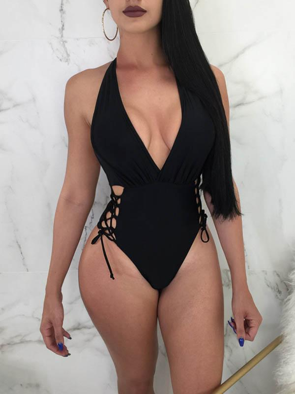Solid Color Bandage Hollow Deep V-Neck One-Piece Swimwear