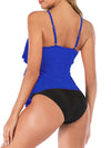 Tiered Falbala Long Section Split Bikini Swimsuit
