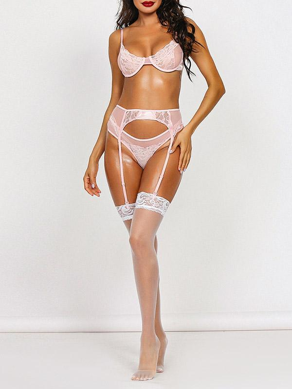 Sexy Lace Split-Joint Underwired Three-Piece Lingerie Set