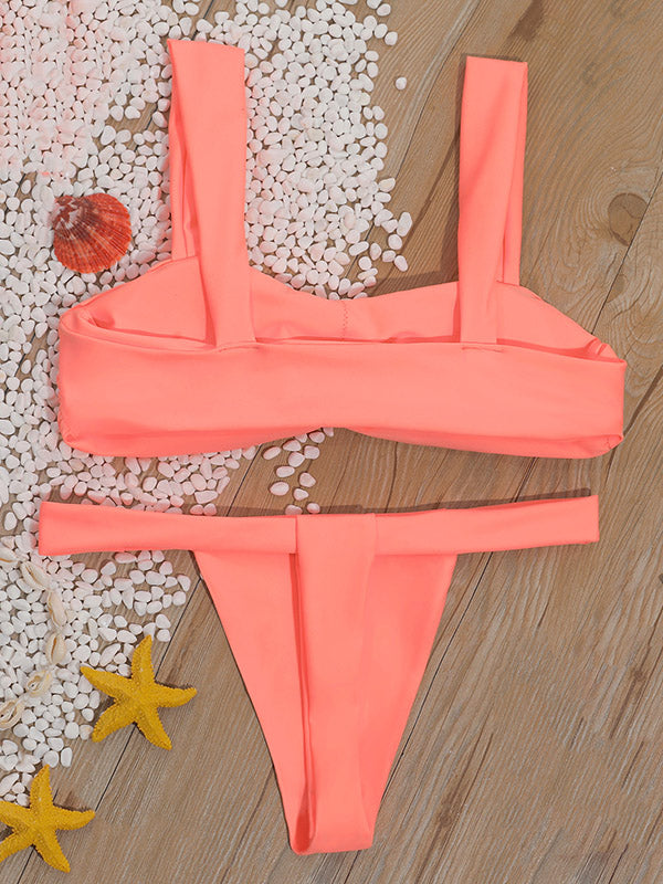 Solid Color Ruffled Strapless Split Bikini Swimsuit