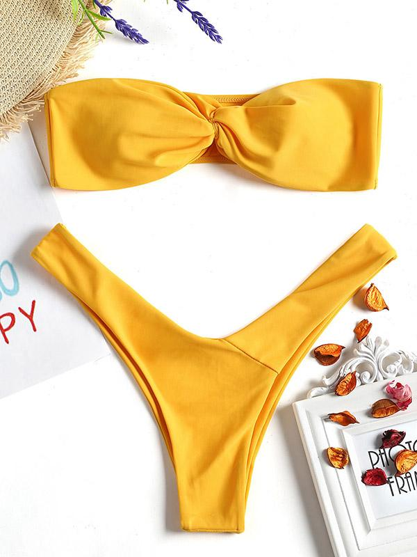 Solid Color Crossed Bandeau Split Bikini Swimsuit