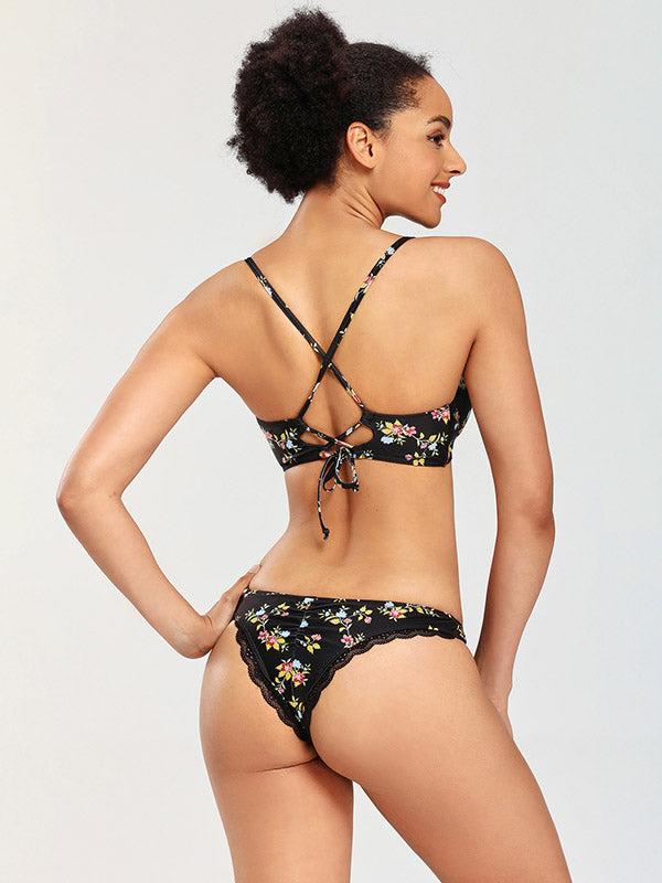 Floral-Print Hollow Split Bikini Swimsuit