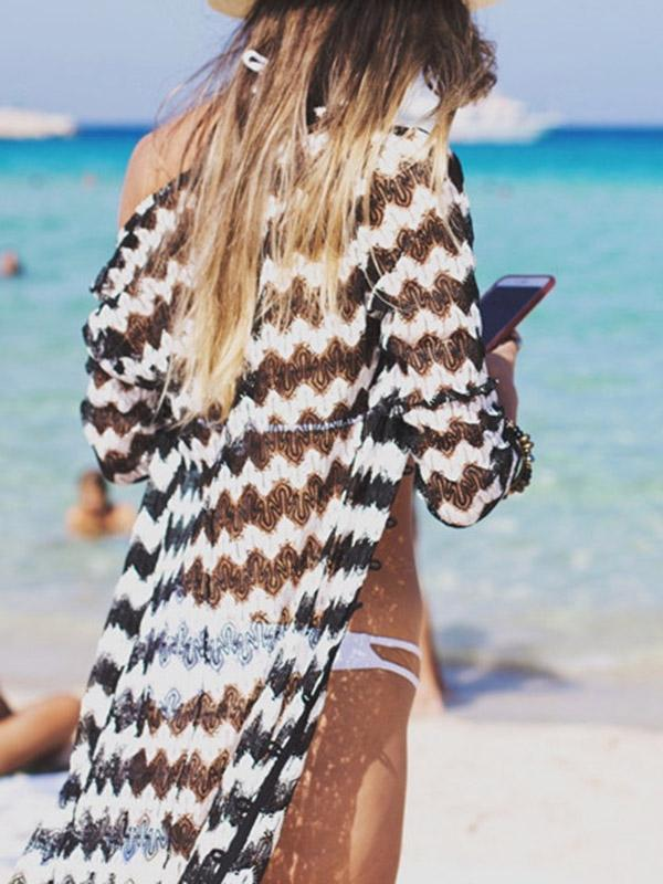 Striped Printed Long Sleeved Tunicshang Cover-Ups Tops
