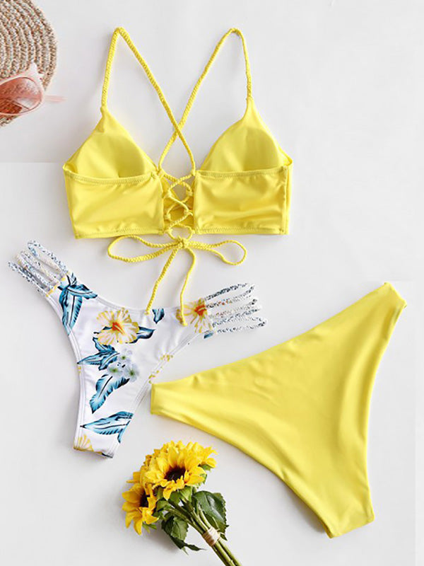 Solid Color & Floral-Print Three-Piece Split Bikini Swimsuit