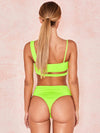 Asymmetric Solid Color Hollow Bikini Swimsuit