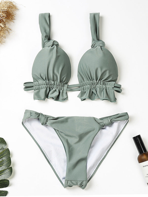 Solid Color Knotted Split Bikini Swimsuit