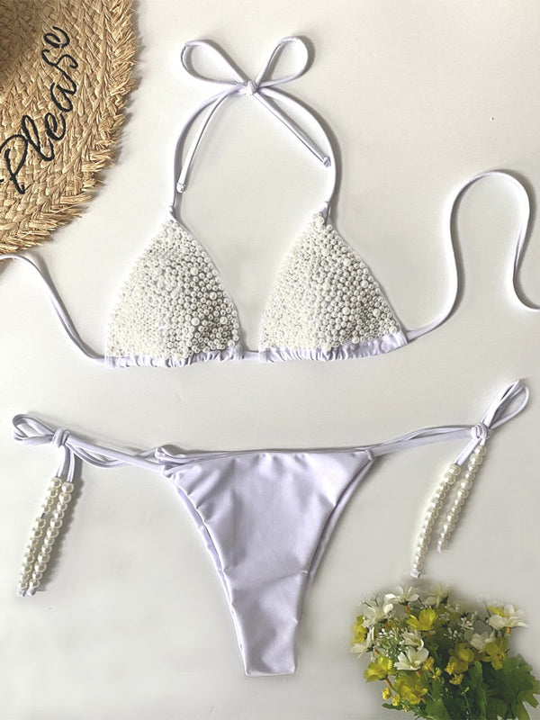 Beaded Triangle  Bandage Split Bikini Swimsuit