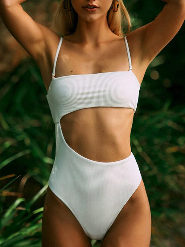 Solid Color Asymmetric Hollow One-Piece Swimwear