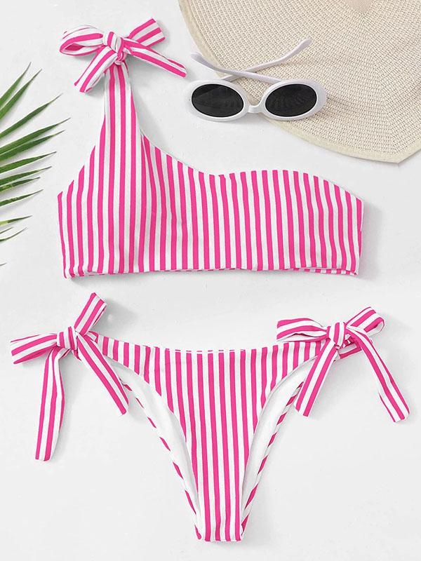 Striped One-Shoulder Knotted Split Bikini Swimsuit