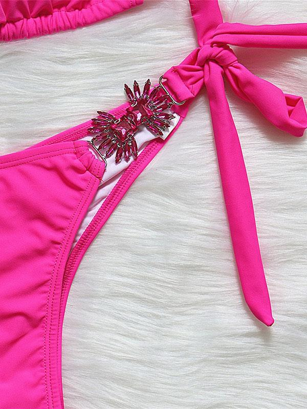 Gorgeous Embellished Solid Color Triangles Knotted Split Bikini Swimsuit
