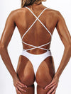 Spaghetti Strap Plain One Piece Swimsuit
