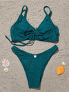Solid Color Bandage Underwired Split Bikini Swimsuit