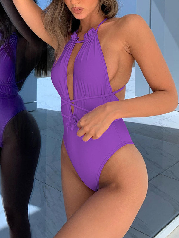 Sexy Solid Color Backless Halterneck One-Piece Swimwear