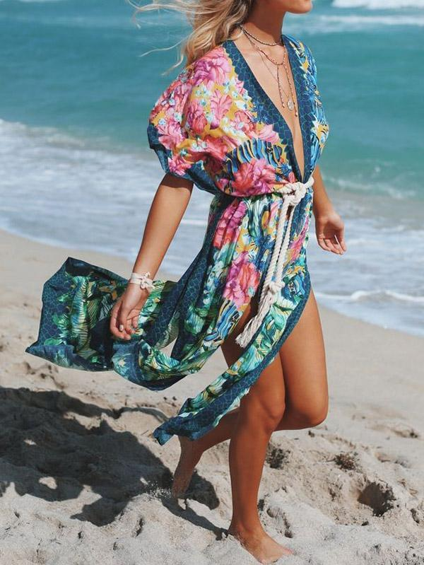 Floral-Print Belted Knotted Tunicshang Cover-Ups Tops