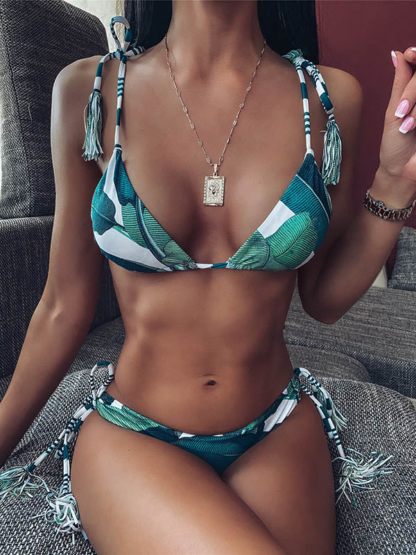 Leaf Printing Triangles Bandage Split Bikini Swimsuit