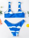 Tie-Dyed U-Neck Split Bikini Swimsuit