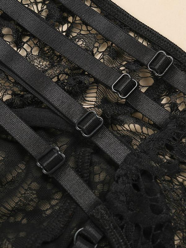 Sexy Lace Hollow Underwired Split Erotic Lingerie