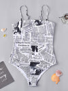 Newspaper-Print One-Piece Swimwear