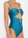 Solid Color Bandeau Embellished One-Piece Swimwear