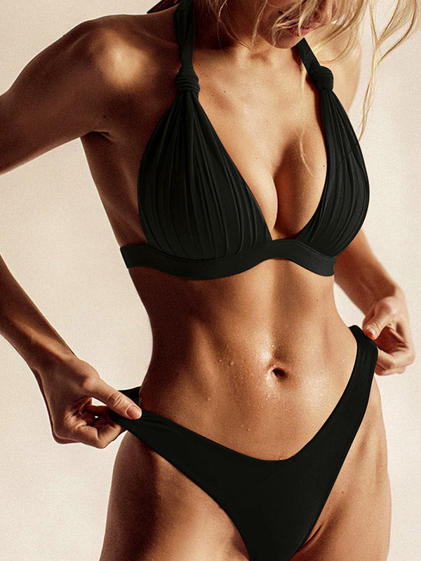 Solid Color Knotted Triangles Split Bikini Swimsuit