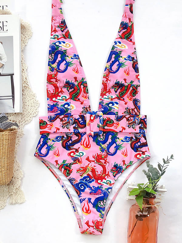 Ethnic Printed Deep V-Neck Halterneck Belted One-Piece Swimwear
